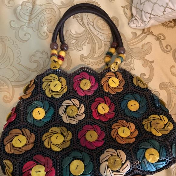 Vintage brown pink tan hobo bag handmade vacation